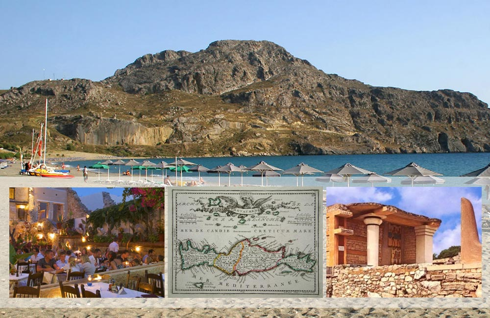 Plakias beach on Crete, plus photos from a Cretan restaurant, a Renaissance map of Crete and ruins of a Minoan palace